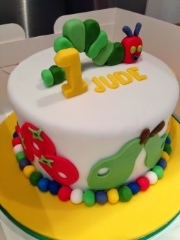 Awesome The Very Hungry Caterpillar Birthday Cake With Chocolate Sponge Personalised Birthday Cards Veneteletsinfo