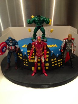 Excellent Super Hero Birthday Cake With Action Figures Gems Cakes Personalised Birthday Cards Epsylily Jamesorg