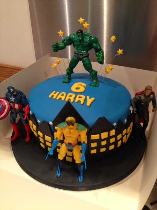 Awe Inspiring Super Hero Birthday Cake With Action Figures Gems Cakes Birthday Cards Printable Riciscafe Filternl